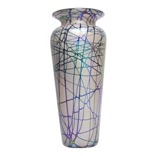 Large Stuart Abelman Studio Glass Iridescent Vase For Sale