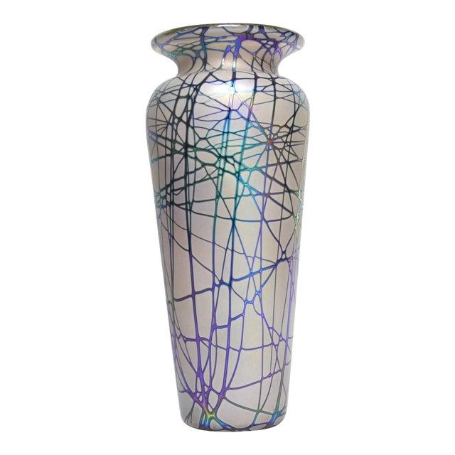 Large Stuart Abelman Studio Glass Iridescent Vase For Sale