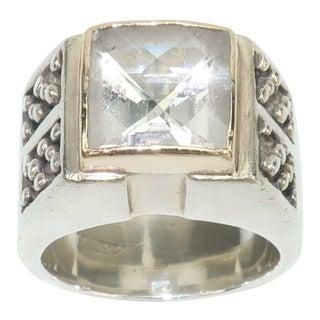Vintage Michael Dawkins Modernist Sterling Silver & Quartz Crystal Ring For Sale