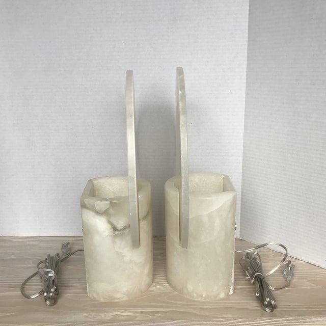 Modern Alabaster Table Lamps Sconces - a Pair - Image 2 of 6