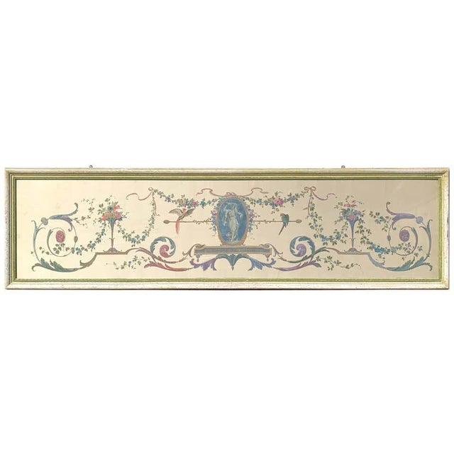 Robert Adam Style Painted Interior Architectural Panel, Framed For Sale - Image 10 of 10