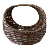 Image of Large Woven Wood Woven Decor & Storage Basket For Sale