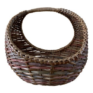 Large Woven Wood Woven Decor & Storage Basket For Sale