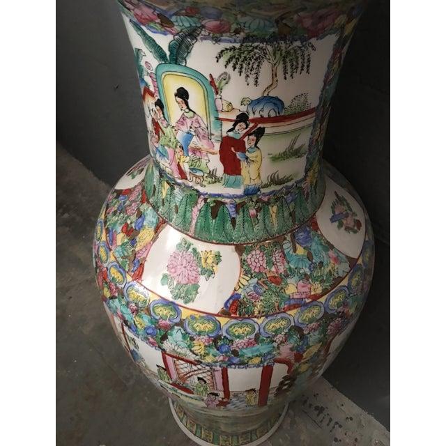 Famille Rose Large Porcelain Vase For Sale - Image 5 of 6