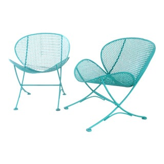 1960s Maurizio Tempestini for Salterini Turquoise Clam Chairs - a Pair For Sale