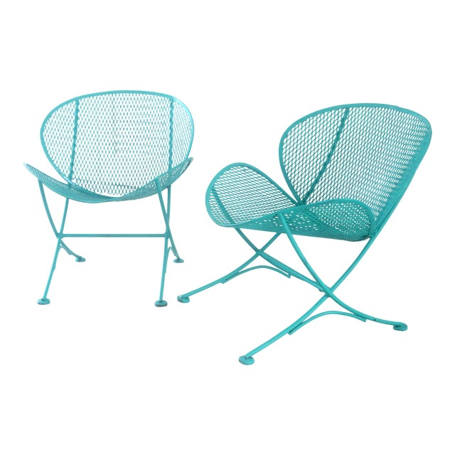 1960s Salterini Turquoise Clam Chairs - a Pair For Sale