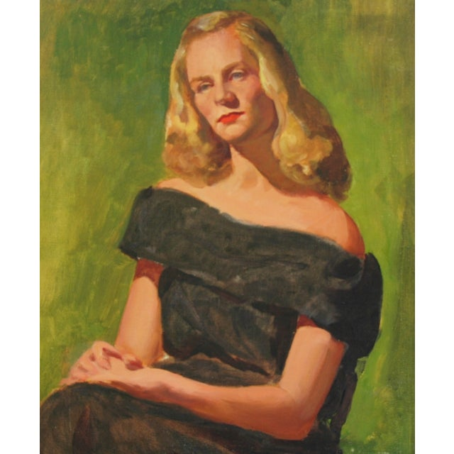 Mid-Century Lady with Golden Hair Oil Portrait - Image 6 of 7