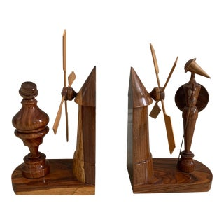 1950s Teak or Walnut Carved Windmill Bookends - a Pair For Sale