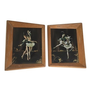 Vintage Mid-Century Ballet Framed Paintings - A Pair For Sale