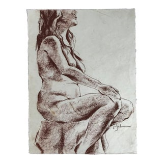 Seated Female Nude Figure Drawing For Sale