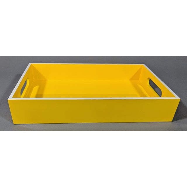 Yellow and White Lacquered Tray For Sale In Providence - Image 6 of 10
