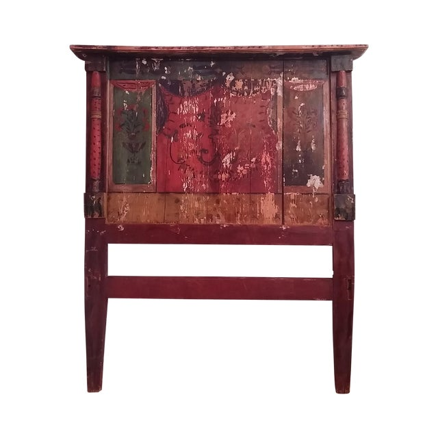 Antique Primitive Painted Red Headboard - Image 1 of 10