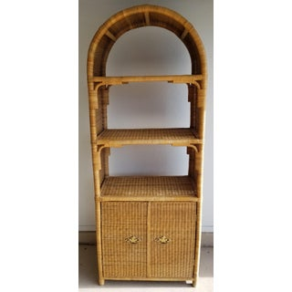 20th Century Boho Chic Wicker Etagere Shelving Unit/Bookcase Preview