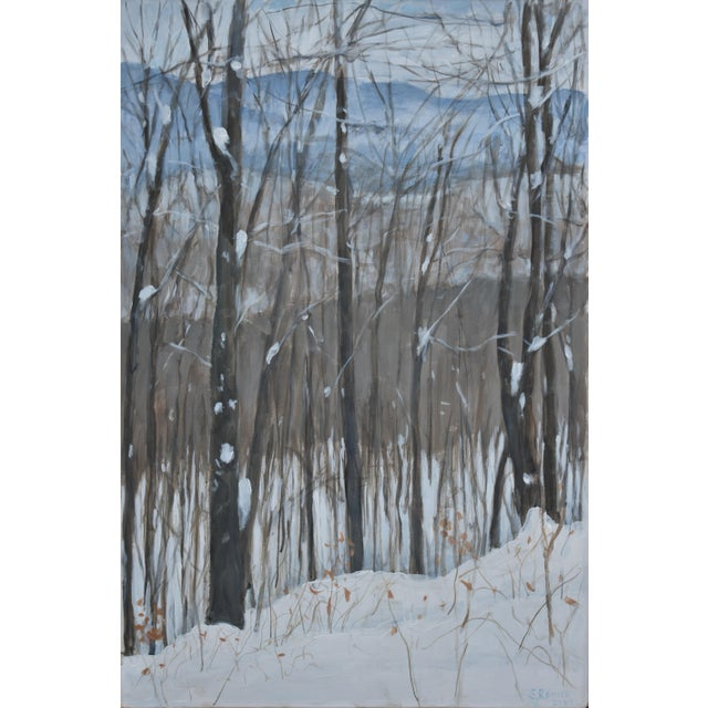 "Stephen Remick ""Snowy Mountains Through Bare Trees"" Contemporary Landscape Painting For Sale - Image 11 of 12"