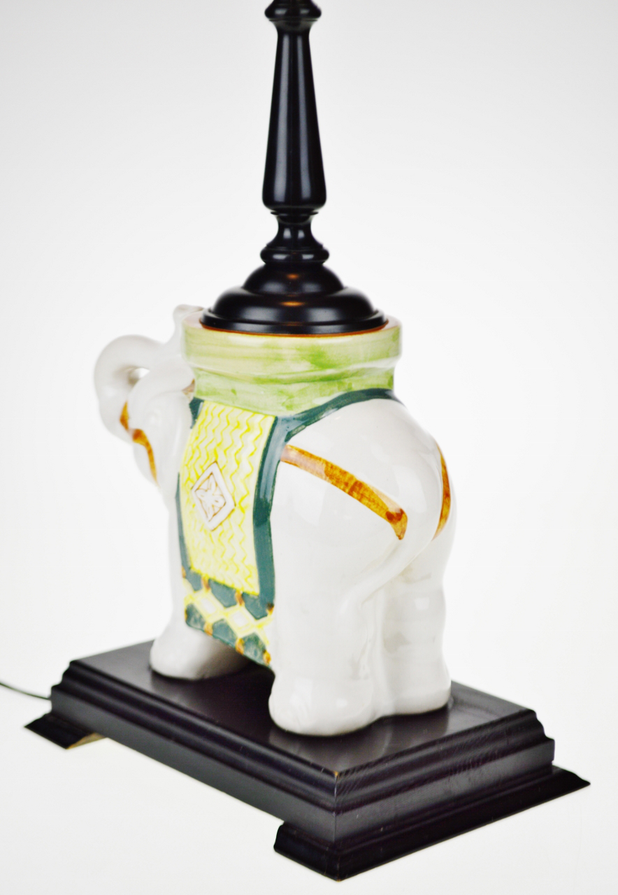 Ceramic Vintage Asian Ceramic Elephant Table Lamp For Sale   Image 7 Of 13