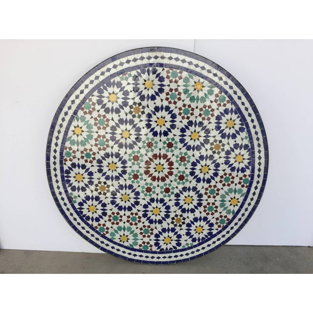 Metal Moroccan Outdoor Mosaic Tile Table From Fez in Traditional Moorish Design For Sale - Image 7 of 9