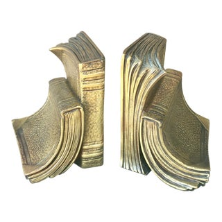 Mid-Century Modern Brass Book Bookends - a Pair