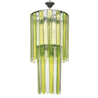 19720s Mid-Century Modern Leucos Green Murano Glass Chandelier For Sale