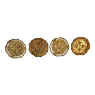 Italian Wooden Gold Florentine Coasters - Set of 4