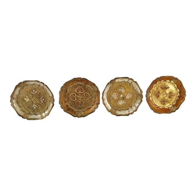 Italian Wooden Gold Florentine Coasters - Set of 4 For Sale