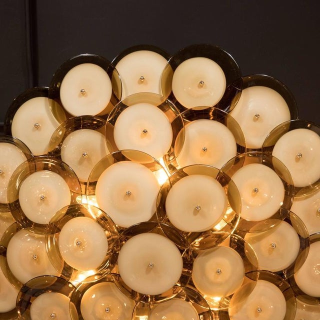 Metal Flush Mount Murano Disc Chandelier in Smoked Topaz with Brass Base For Sale - Image 7 of 8