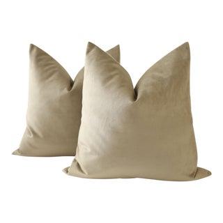 Olive Green Velvet Pillows - A Pair