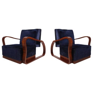 Pair of Adjustable Art Deco Lounge Chairs in Blue Velvet