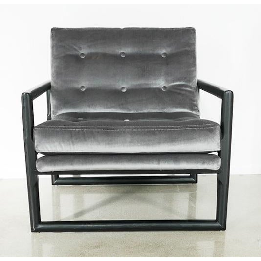 """Contemporary Grey Mohair Milo Baughman """"Cube"""" Side Chair For Sale - Image 3 of 7"""