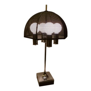 Modernist Chrome Bouillotte Style Table Lamp Metal Mesh Umbrella Shade For Sale