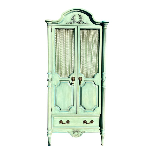 Lewis Mittman Blue Painted Louis XVI Style Armoire For Sale
