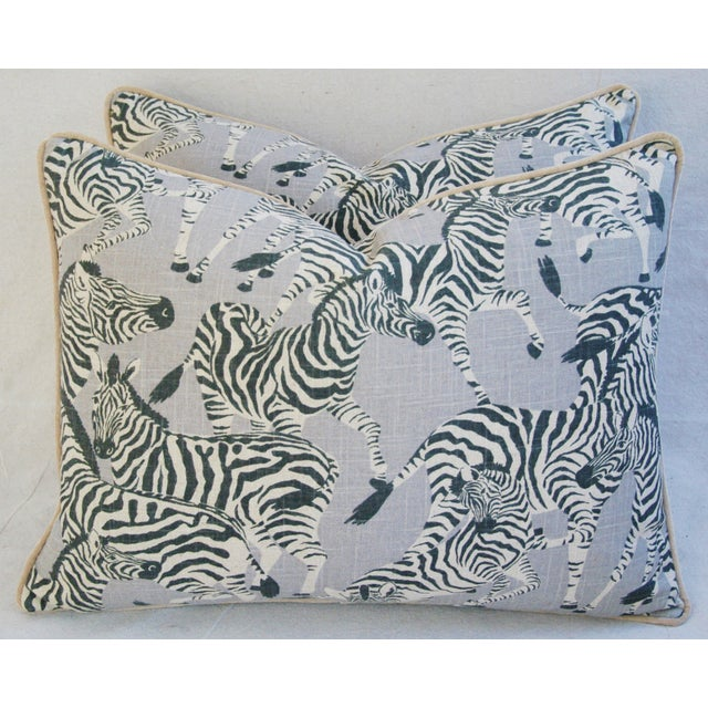 Pair of large custom-made pillows in a vintage unused printed 100% linen fabric depicting a wonderful safari zebra motif....