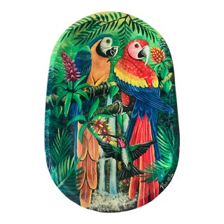 Vintage Handpainted Wooden Bowl Featuring Tropical Birds of Panama For Sale