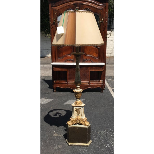 Antique Carved Italian Pricket Floor Lamp w Custom Shade For Sale - Image 4 of 4