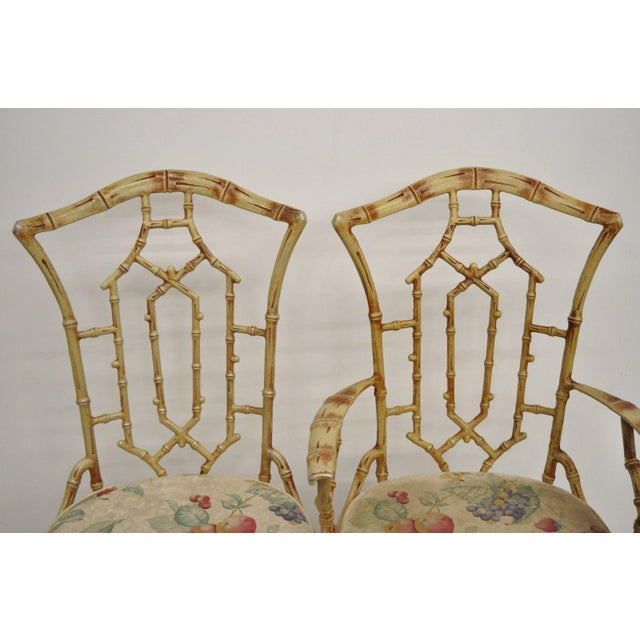 Chinese Chippendale Metal Faux Bamboo 5 Piece Dining Set For Sale In Philadelphia - Image 6 of 13