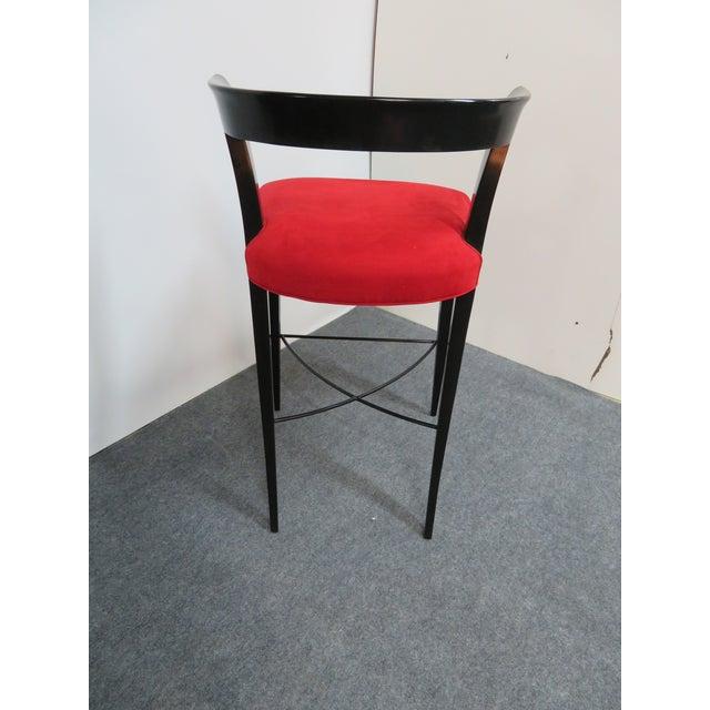 Modern Design Custom Red Upholstered Lacquered Bar Stool Set of 3 For Sale In Philadelphia - Image 6 of 8