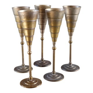 Set of 5 - Larry Laslo for Towle Art Deco Brass Flutes For Sale