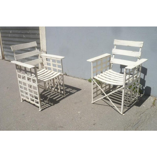 White Austrian Sécession Pair of Garden Arm Chairs in Genuine Vintage Condition For Sale - Image 8 of 8