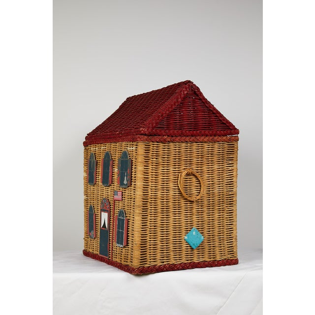 Nostalgic vintage handmade wicker toy basket in the shape of an American Colonial schoolhouse. The Classic red roof top...