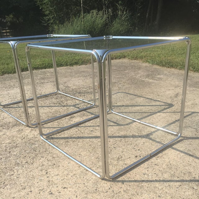 Milo Baughman Chrome Coffee Table: Milo Baughman Style Stackable Chrome Cube End