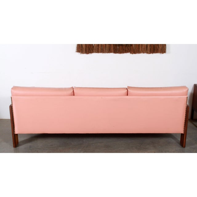 Mid Century Modern Adrian Pearsall for Craft Associates Pink Vinyl & Walnut Sofa For Sale In Providence - Image 6 of 13