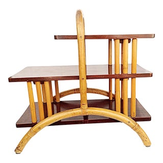 Three Level Rattan & Wood Side Table For Sale