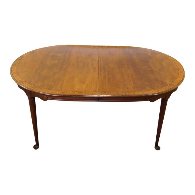1980s Banded Walnut & Elm Dining Room Table W/ 2 Leaves For Sale