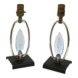 Vintage Mid-Century Blue Floral Glass Detail Vanity Lamps - a Pair For Sale