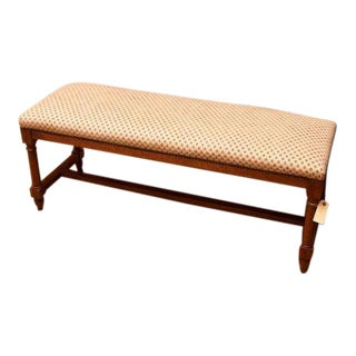 Mid 20th Century Upholstered Fruitwood Bench For Sale