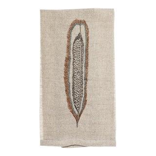 Contemporary Linen Hawk Feather Tea Towel For Sale