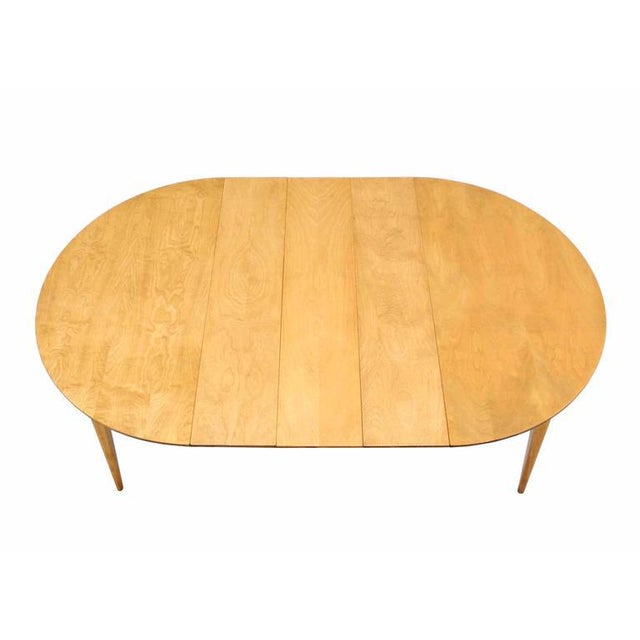 Round Birch Dining Table with Three Leaves For Sale - Image 4 of 6