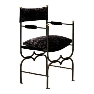French Empire Style Iron and Brushed Velvet Chair