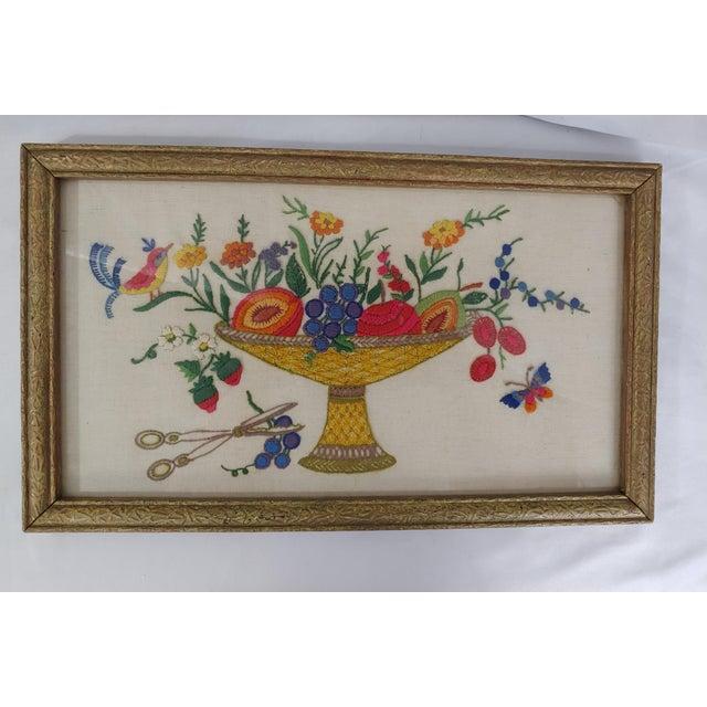 1970s Vintage Embroidered Bird on Fruit Basket, Original Frame For Sale - Image 5 of 5
