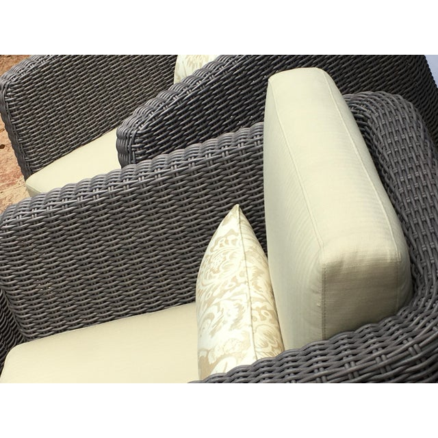 Handwoven Eco-Friendly Outdoor Set of 3. Includes 2 Deep Cube Shaped Club Chairs with parallel arms and gentle back...