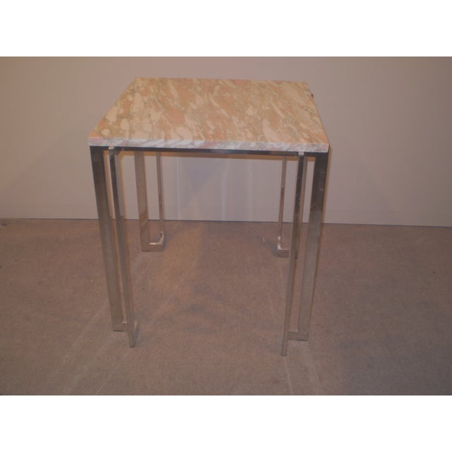 Chrome & Marble Occasional Table - Image 2 of 5